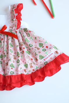 28b07a7da76 This adorable baby vintage dress is just perfect for the Holidays. The dress  is made with a cute Christmas print in pink