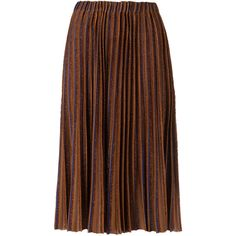 Gig midi knitted skirt (5.440 HRK) ❤ liked on Polyvore featuring skirts, brown, pleated midi skirt, elastic waist skirt, brown midi skirt, knee length pleated skirt and mid calf skirts