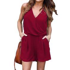 Women Summer Chiffon Fabric V-Neck Sleeveless Elastic Waist Short Jumpsuit