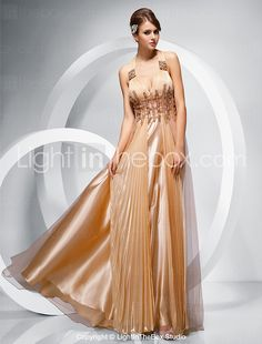 TS Couture® Prom / Military Ball / Formal Evening Dress - Gold Plus Sizes / Petite Sheath/Column Straps Floor-length Chiffon / Stretch Satin / Tulle 2016 - $194.59