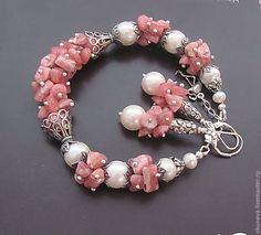 """Купить Браслет """" Розовый фламинго"""" - родохрозит, жемчуг пресноводный, речной жемчуг, браслет с родохрозитом"""
