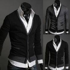Men's fake pocket sweater cardigan (wool cashmere)