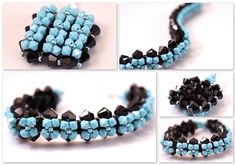 """Items similar to Turquoise and black jewelry set (bracelet and pendant) Swarovski crystals and sterling silver,bride's mother jewelry """"Magic""""- ready to ship on Etsy Handmade Jewelry, Unique Jewelry, Handmade Gifts, Black Jewelry, Jewelry Sets, Turquoise Bracelet, Beaded Bracelets, Trending Outfits, Etsy"""