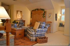 Upstairs Family Room with Antique Pine