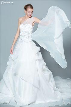 Court Train One Shoulder Organdy dress with Ruffles Cute Wedding Dress, Fall Wedding Dresses, Colored Wedding Dresses, Perfect Wedding, One Shoulder Wedding Dress, Wedding Gowns, Wedding Events, Our Wedding, Dream Wedding