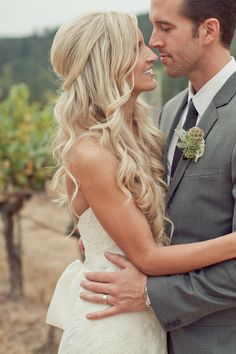 wedding day bridal hair; half up/half down with loose romantic curls - pretty!
