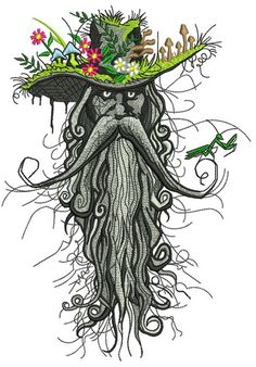 Root man machine embroidery design. Machine embroidery design. www.embroideres.com #yellow #blue #orangeflower #graygrass #mushroom #fantastic #insect #cowboyhat #forest #mustacheman #blossom #creature #root #mantis #embroidery #embroideres
