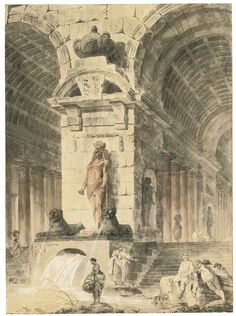 Hubert Robert | ANCIENT BUILDING WITH TWO ARCADES AND EGYPTIAN SCULPTURES, WASHERWOMEN AND FIGURES NEAR A FOUNTAIN