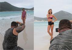 Making of da campanha da coleção da marca Triya, de beachwear, para a fast fashion C&A, com biquinis e maiôs.