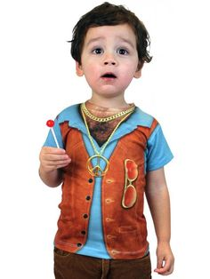Halloween 1970s Hairy Chest Tee Toddler Costume