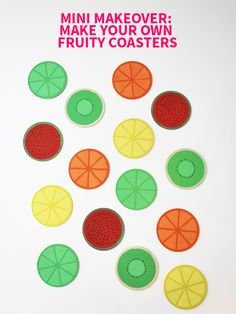 Mini Makeover: Make Your Own Fruity Coasters on Style for a Happy Home // Click for DIY