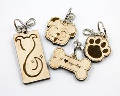These keychains are all Dog-Themed! You can chose to purchase just 1 style, or a. Wood Burning Crafts, Wood Burning Patterns, Wood Burning Art, Wood Crafts, Laser Cutter Ideas, Laser Cutter Projects, Cnc Projects, Trotec Laser, Laser Cut Wood