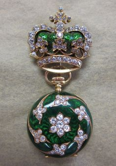 Antique Ladys 18K Gold, French Enamel & Diamond Encrusted Watch Holder & Watch.....Uploaded By  www.1stand2ndtimearound.etsy.com