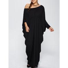 Plus Size Skew Neck Batwing Sleeve Maxi Dress