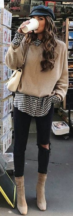 #winter #fashion / Dotted Print Shirt + Beige Knit + Destroyed Skinny Jeans
