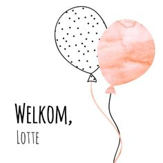 Geboortekaartje voor een meisje met trendy balonnen. Aquarel pastel kleuren en stipjespatroon, verkrijgbaar bij #kaartje2go voor € 1,99