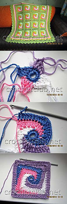 Crochet between worlds: Pattern: Solid Spiral Granny Square (translated from Patty Crochète) Spiral Crochet, Freeform Crochet, Love Crochet, Crochet Motif, Diy Crochet, Crochet Designs, Crochet Crafts, Crochet Doilies, Crochet Flowers