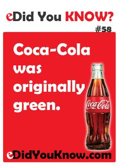 This is because Coca Cola would actually be green but the company thought it wouldn't sell that much so they added colour to make it blackish brown. Wierd Facts, Weird But True, Wow Facts, Wtf Fun Facts, True Facts, Funny Facts, Random Facts, Coca Cola, Did You Know Facts