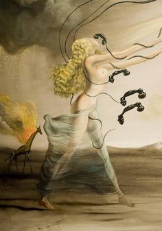 La girafe en feu et les téléphones (1937) Huile sur toile, Salvador Dali