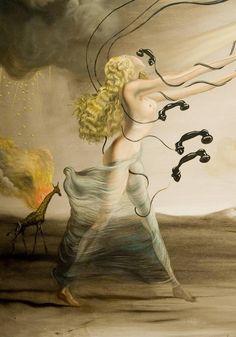 Salvador #Dali - Burning Giraffes and Telephones (Detail)