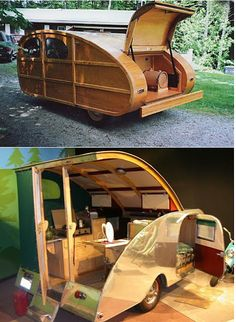 teardrop trailer moderne wood