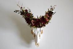 Deer Skull with Preserved Floral Crown  Merlot by MaisonDeLaCroix