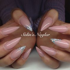 Beige silver nail