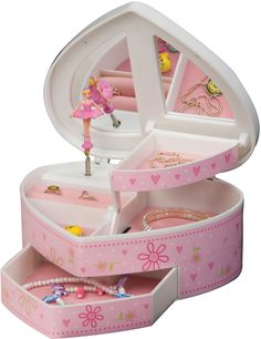 MELE KIDS JEWELRY BOX HEART WITH DANCING BALLERINA MUSICAL PLUS ALL