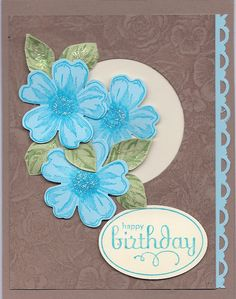 SU flower shop stamp set and die, Happy Birthday from SU perfect punches