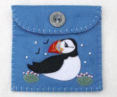 Blue felt coin purse, puffin