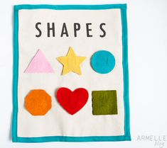 8 Cute DIY Quiet Books-- LIke the shapes idea and the camera with family pic underneath