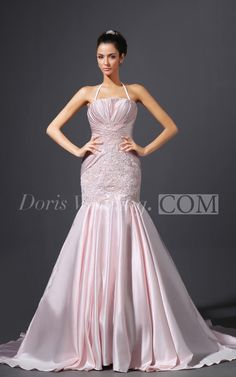 Sexy Spaghetti Straps Ruching Mermaid Lace Pink Wedding Dress. Find and save more designer wedding dresses on this board, find more #DorisWedidng.com