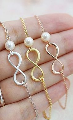 Infinity and Swarovski Pearl necklaces