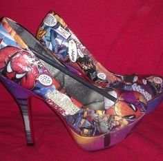 Spider Man Heels Comic Book High Heeled Shoes ..... NEED to know where to get these!!!