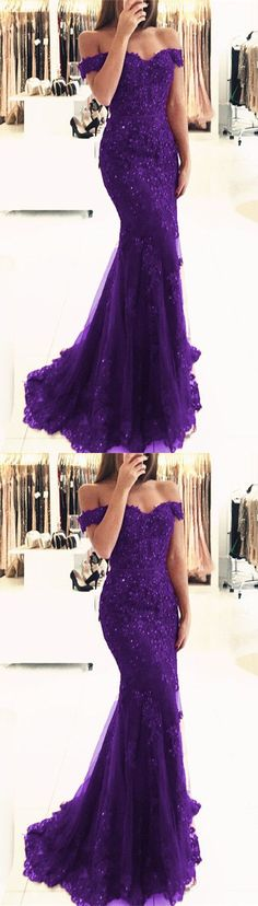 purple lace mermaid prom dresses beaded v neck evening gowns off the shoulder prom dress