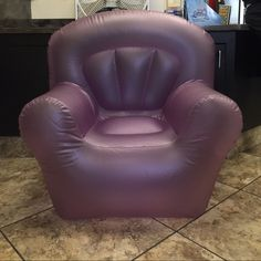 Purple Inflatable Chair Has paint stains and yellow stains you can see in the photos. No holes. In fair condition. Will not be inflated when shipped. Other