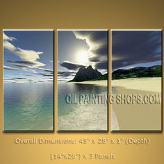 Stunning Contemporary Wall Art Seascape Painting Beach Sunrise Scenery. In Stock $134 from OilPaintingShops.com @Bo Yi Gallery/ ops3207