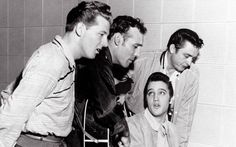 Johnny Cash:  'Man in Black' - Telegraph Johnny Cash (far right) with Jerry Lee Lewis (left), Carl Perkins and Elvis Presley at the Sun Recording Studios, Memphis, in December 1956. The title for Walk the Line was a suggestion from Carl Perkins.