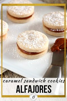 A recipe for dulce de leche alfajores cookies. Two cookies sandwiched with a filling of dulce de leche. A traditional South American dessert. #cincodemayo #caramel #dulcedeche #sandwichcookie #easycookierecipe #abakershouse Recipe For Dulce De Leche, Dessert Drinks, Dessert Recipes, Cookie Sandwich, Best Christmas Cookie Recipe, American Desserts, Dream Apartment, Easy Cookie Recipes, Cakepops