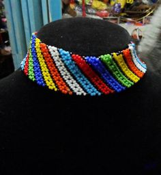 African masai beaded choker necklace, multicolored necklace, one size fits all, gift for her elegant and well crafted. multicolored other colors available width - inches / adjustable length - 13 inches/ 33 cms to 15 cms