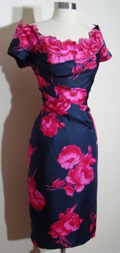 1950s Silk Draped Applique Peony Floral Wiggle Dress.  Cut out motifs and apply to neckline.