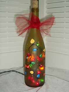 Hand Painted Recycled Wine Bottle Light. $25.00, via Etsy.