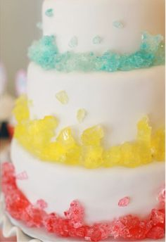 rock candy decorated cake idea! Can't love this enough!!! Or... Breaking Bad Finale party and use just blue rock candy :op