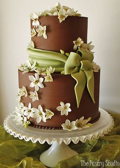 chocolate fondant and cream/olive green accent- wedding cake