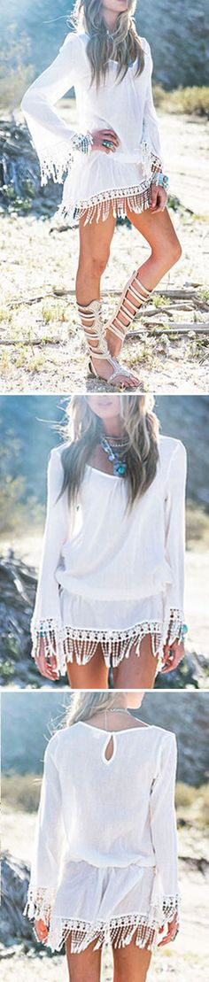 Let this lace fringe top adds a bit more feminine look. You won't regret buying this. Check this at CUPSHE.com
