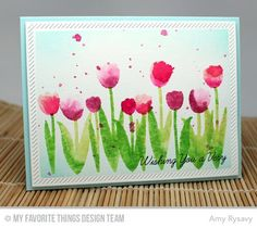 Spring Tulips, Easter Bunny, Inside & Out Diagonal Stitched Rectangle STAX Die-namics - Amy Rysavy #mftstamps