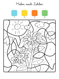 Picture result for sunflowers tinker kids Color By Numbers, Paint By Number, Number 2, Coloring Pages For Grown Ups, Montessori Materials, Free Printable Coloring Pages, Blogger Themes, Drawing For Kids, Preschool Activities