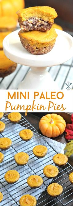 These paleo pumpkin pies are a sweet mini treat, without the refined sugar, dairy, and grains. A coconut pecan crust topped with a delicious pumpkin-pie topping. Sure to impress this Thanksgiving!