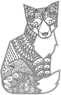 Free coloring page «coloriage-adulte-animaux-renard». Un malicieux renard avec motifs variés: