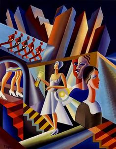 Specific comment Italian futurism - Fortunato Depero Use of angles, men falling in line, women in white waiting for her wedding Art And Illustration, Illustrations And Posters, Cubist Artists, Art Nouveau, Italian Futurism, Modern Art, Contemporary Art, Futurism Art, Social Art